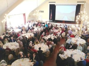 Older-age residents crowded the dining room for the Year of the Senior lunch. (Photo by L.S. Armstrong)