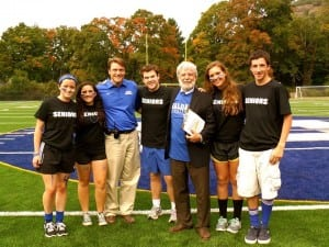 "The Core Four: from left, Mary Callaghan (Class of 2014 treasurer); Maya Curto (Class of 2014 secretary); Haldane High School Principal Brian Alm; Student Council President Aidan Gallagher; Haldane District Superintendent Mark Villanti; Shauna Ricketts (Class of 2014 president) and John Hughes (Class of 2014 vice president). The ""core four"" (as they call themselves) class officers have held these positions all four years of high school. (Photo courtesy of Shauna Ricketts)"
