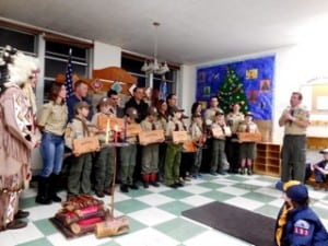 Cub Scout Webelos receive the Arrow of Light. (Photo courtesy of Cub Scout Pack 137)