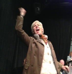 JulieHeckert,performingtheroleofRepresentativeJohnDickinson,inrehearsalfor1776.