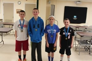 From left, Dominic Maglio, Connor O'Reilly, Madison Chiera and Dillon Kelly competed Feb. 14 in free throw competition. (Photo courtesy of Knights of Columbus)