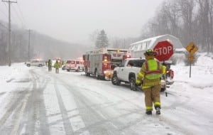 A snowy February car accident. (Photocourtesyof GVFC)