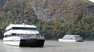 Two Seastreak boats wait to dock at Cold Spring last fall. (File photo by M. Turton)