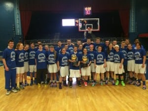 The Haldane girls and boys basketball teams at the Westchester County Center following their victories. (Photo by Jordan Griffith, MSG Varsity)