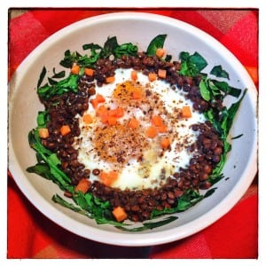 Lentils, Spinach, Eggs