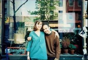 KitShapiroDemirdelen,left,withfriend,P.DavidEbersoloutsidetheLCafein1993 (Photocourtesyoftheartist)