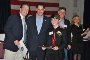 Pictured from left, Yorktown Councilman Terrence Murphy, Sen. Greg Ball, Youth Honoree Patrick Salerno, Legislator Sam Oliverio and Legislator Ginny Nacerino (Photo courtesy of Sen. Ball)