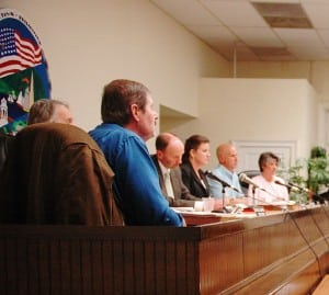 Town Board members listen during proceedings April 3; from left: Councilors Mike Leonard and Dave Merandy, Supervisor Richard Shea, Councilors Nancy Montgomery and John Van Tassel, with Town Clerk Tina Merando. Photo by L.S. Armstrong