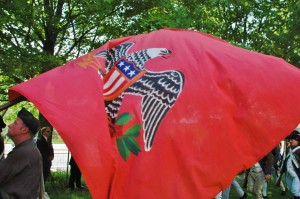 The eagle of the 5th NY spreads its wings on Memorial Day at the Fishkill Supply Depot.