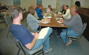 Members of the Nelsonville, Cold Spring and Philipstown governing boards meet May 14 to discuss building department consolidation. Photo by L.S. Armstrong