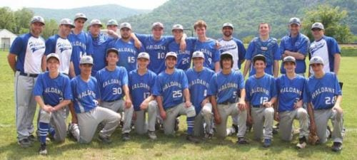 The Haldane varsity baseball team competed at Mayor's Park on May 27. The Blue Devils won 13-0 against Solomon Schechter to advance to Sectional finals on May 31. (Photo provided.)