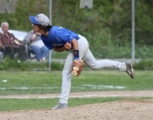 Jay Marchese pitches his final Haldane varsity baseball game May 19, at Mayor's Park.