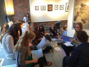 Haldane students come together for a Fashion as Art fashion show planning meeting. (Photo by L. Austin)
