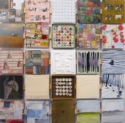 """Afewofthepartswhichmadeupthewholeofthe50-50""""mosaic""""displayedatGarrisonArtCenter."""