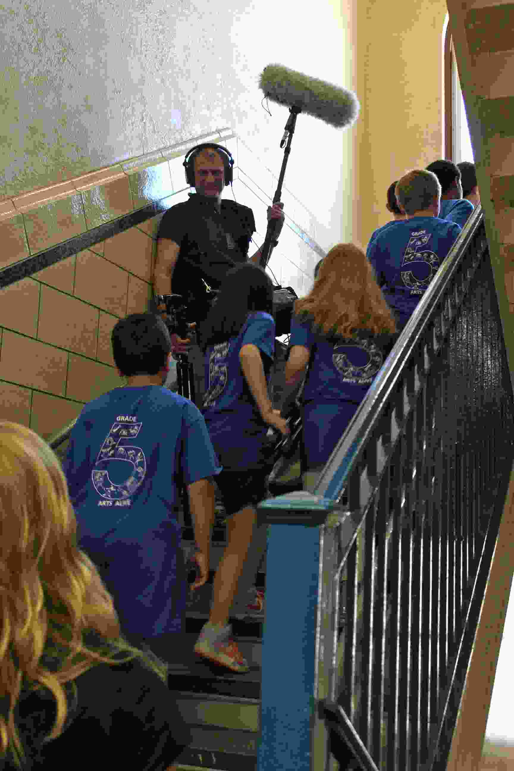 Haldane Fifth Grade Arts Day Boom Mike in Stairwell IMG_9869