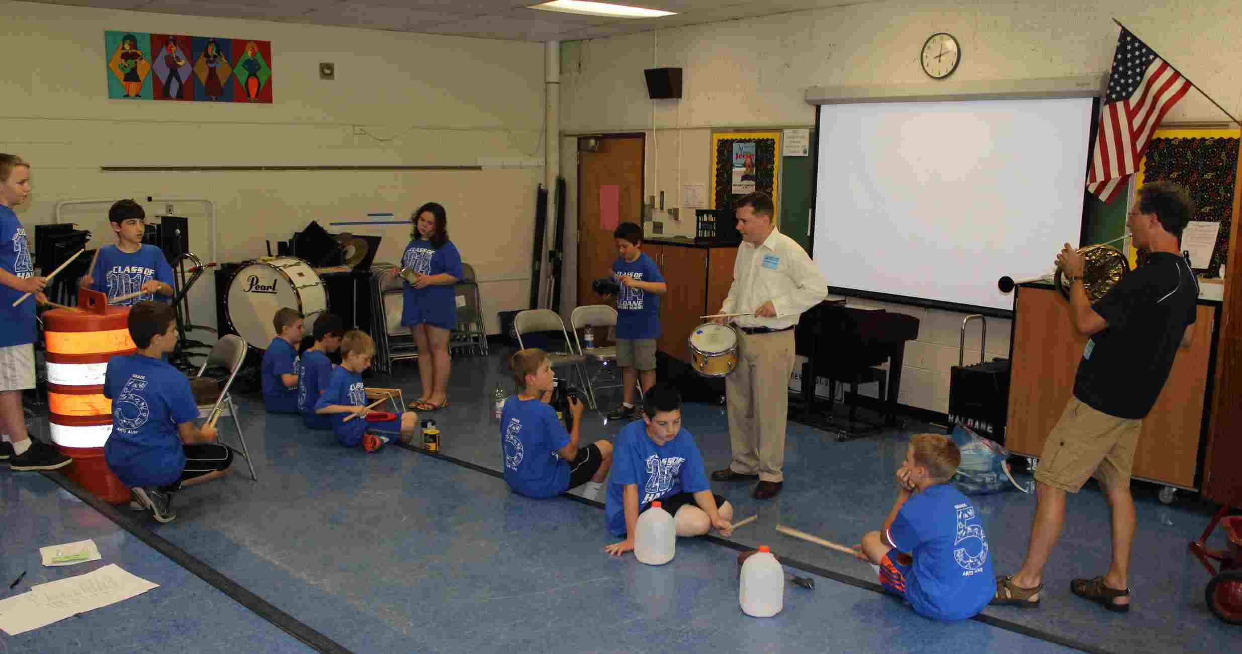 Haldane Fifth Grade Arts Day Lost and Found Orchestra Eric Starr and Greg Smith French Horn IMG_9953