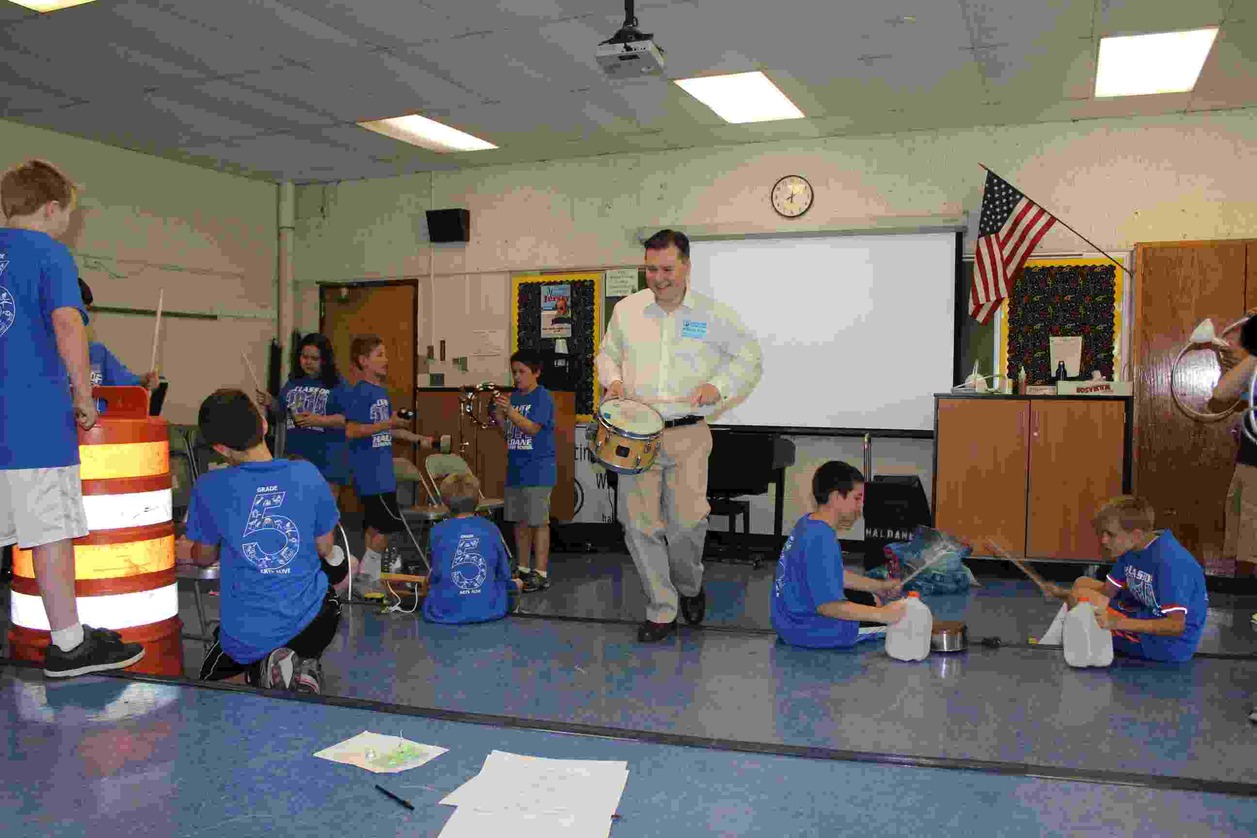 Haldane Fifth Grade Arts Day Lost and Found Orchestra Eric Starr percussion IMG_9948