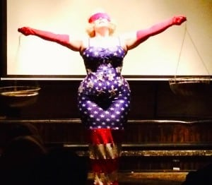 Burlesque star Dirty Martini performing at Dogwood in February 2014, for a screening of Beth B's documentary, Exposed. (Photo by S. Hixson)