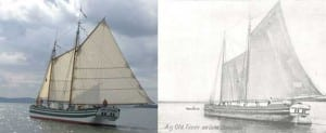 The Lois McLure and a sketch of a similar boat from the 1800s.  Lake Champlain Maritime Museum photo and image.