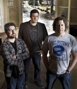 Fromleft,SethKramer,JeremyNewbergerandDanielA.Miller,directors,Evocateur:TheMortonDowneyJr.Movie