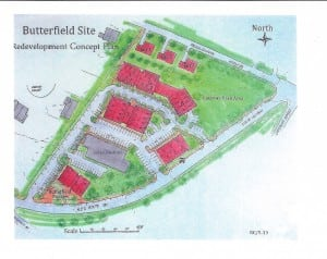 The map of the planned Butterfield redevelopment, as of June 2014, included with a letter sent to local officials.