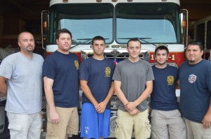 TheeveningaftertheHighStreetfire,severalmembersoftheColdSpringFireCompanywerebackattheFireHall,cleaningequipmentandpreparingforthenextcall.Fromleft,SteveSmith,assistantchief;MattSteltz,pastchief;JeffPhillips,firefighter(interior);MichaelEtta,lieutenant,firefighter(interior);SalvatoreBaisley,firefighter(interior)andJoshDiNardo,chief.