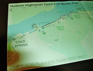 A draft map shows the beginning of the trail at the Cold Spring end.