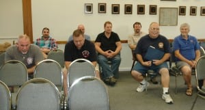 Members of the Continental Village Fire Department await the Town Board workshop. Photo by L.S. Armstrong
