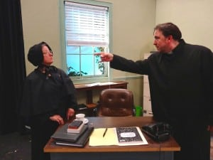 Julie Eads Woolley as Sister Aloysius and Rick Meyer as Father Flynn