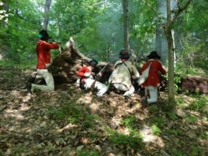 Troops of the recreated Light Company, 22nd Regiment of Foot in action at Brandywine Battlefield, 2014