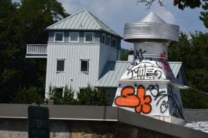 "The letters ""SK"" are included in the graffiti on this vent atop the roof of the Ellen Hayden Downtown Gallery — and may be the ""tag"" used by one of the vandals to identify his/her work."