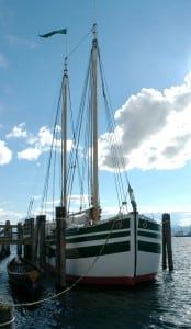 Lois McClure at her home port at Perkins Pier, Burlington, Vermont Photo courtesy of Lake Champlain Maritime Museum