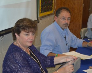 SuperintendentofSchoolsDr.DianaBowersandHaldaneSchoolBoardPresidentJoeCurtoatTuesday'smeeting.