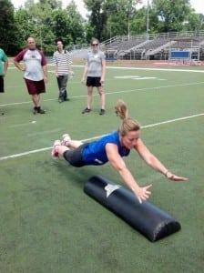 KristinNoscheseVanTassel,playersafetycoachforPhilipstownHawks,performstheSHOOTdrillattheHeadsUpFootballClinic.(Photoprovided)