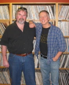 Sam Tallerico, right, and fellow DJ Owen  in the WVKR archive. (Photo provided) Photo provided