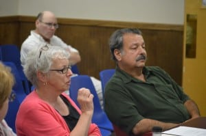 Commissioners Catherine Croft and Anthony Scannapieco addressed the Village Board regarding the possibility of  having the Putnam County Election Commission run village elections. (Photo by M. Turton)