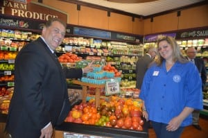 Foodtown's corporate Produce Director John DiPietro with Cold Spring's Foodtown produce manager Jessica O'Dell