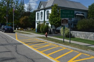 No Parking — lines painted in front of 240 Main St. are causing a stir on the Village Board. (Photo by M. Turton)