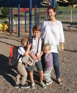 FirstDayofSchool:SylviaGauglerandherthreesons,Alex(firstdayofkindergarten),Liam(thirdgrade)andNicholas,futureHaldanestudent. (PhotobyE.J.Schmidt)