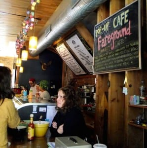 Fareground's last full-menu pop-up was in 2012 at Beacon's The Coffee Shoppe. Co-Founder Kara M. Dean-Assael greeted customers at the counter. (Photo courtesy of Fareground)
