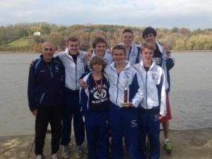 Boys varsity cross-country at the Oct. 25 Harvest Classic at Schodack Island Park (photo courtesy of Tom Locascio)