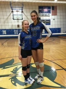 Fiona Mueller and Kelly Vahos at Volleyball Senior Night, Oct. 21; Haldane top seeded in Class D Sectionals (Photo by Sharon DiPalo)