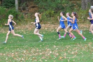 Haldane cross-country girls Taylor Farrell, Katy Phillips and Ruby McEwan at Coaches' Invitational Oct. 18 at Bowdoin Park (Photo by Peter Farrell)