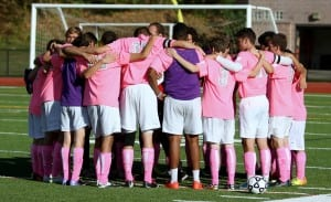 Haldane Boys Varsity Soccer shows their support for National Breast Cancer Awareness Month on Oct. 8, at Briarcliff High School. (Photo by Scott Warren)