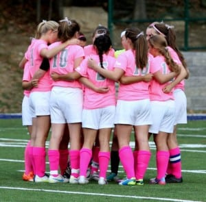 Haldane Girls Varsity Soccer shows their support for National Breast Cancer Awareness Month on Oct. 10, at home versus Henry Hudson. (Photo by Scott Warren)