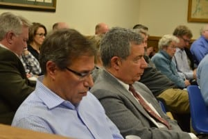 Attorney Steven Barshov, left, and Butterfield developer Paul Guillaro attended Monday's meeting.