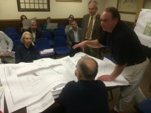 The planning board looks over the Blu Home plans at its Nov. 5 meeting.