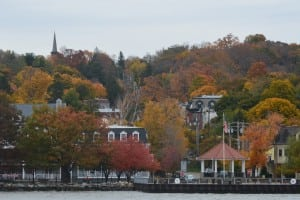 A colorful autumn landscape greeted passengers as the Seastreak pulled up to  the dock at Cold Spring.