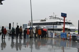 Seastreak's cruise started out on a wet note at Pier 11 in New York City.