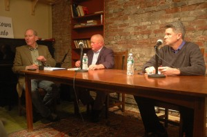 Stewart moderates a 2011 candidate forum with Cold Spring mayoral candidates Anthony Phillips, center, and Seth Gallagher